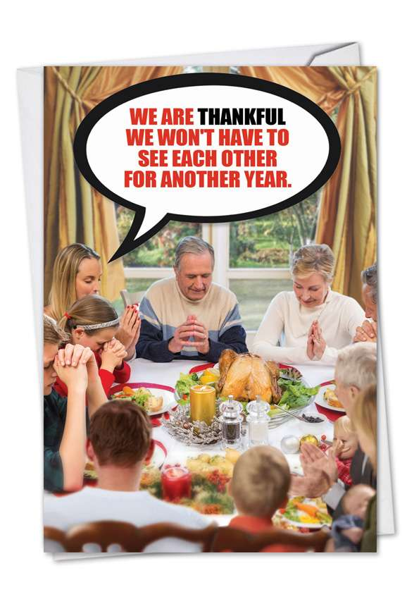 Thankful Family: Funny Thanksgiving Printed Card