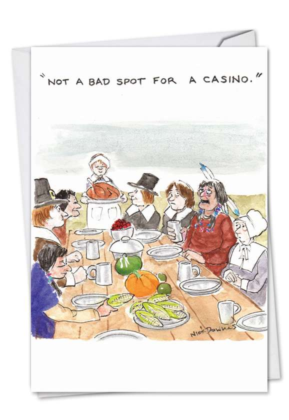 Pilgrim Casino: Hysterical Thanksgiving Paper Card