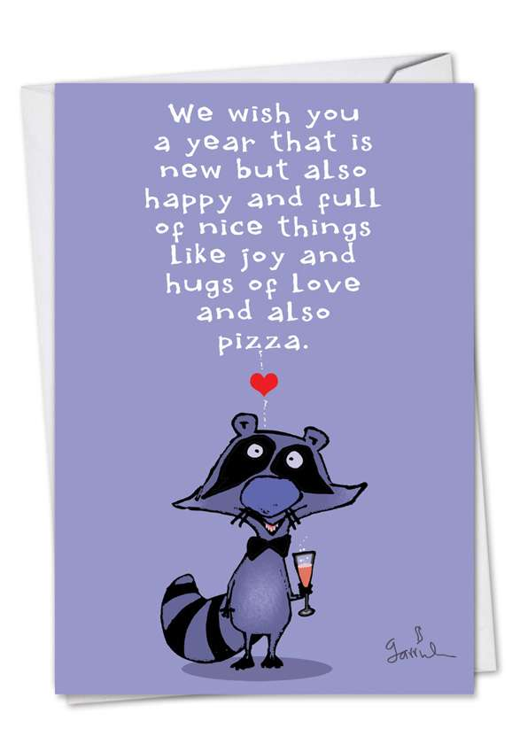 New Year Raccoon Card