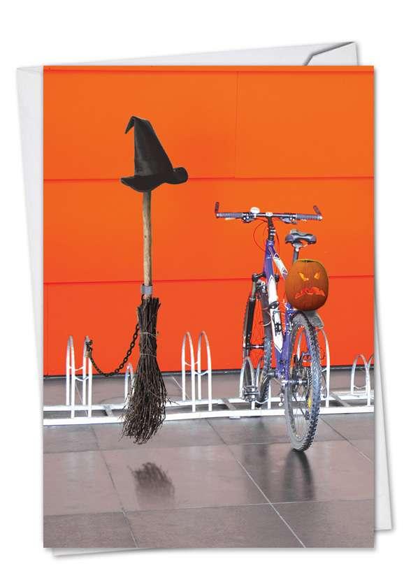 Broom Bicycle Rack: Funny Halloween Paper Card