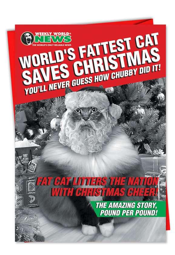 Fat Cat Christmas: Humorous Christmas Greeting Card