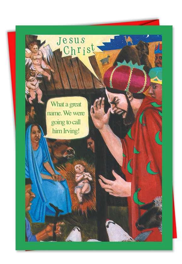Name Him Irving: Humorous Christmas Paper Card