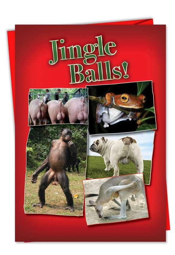 Jingle Balls: Humorous Christmas Paper Greeting Card