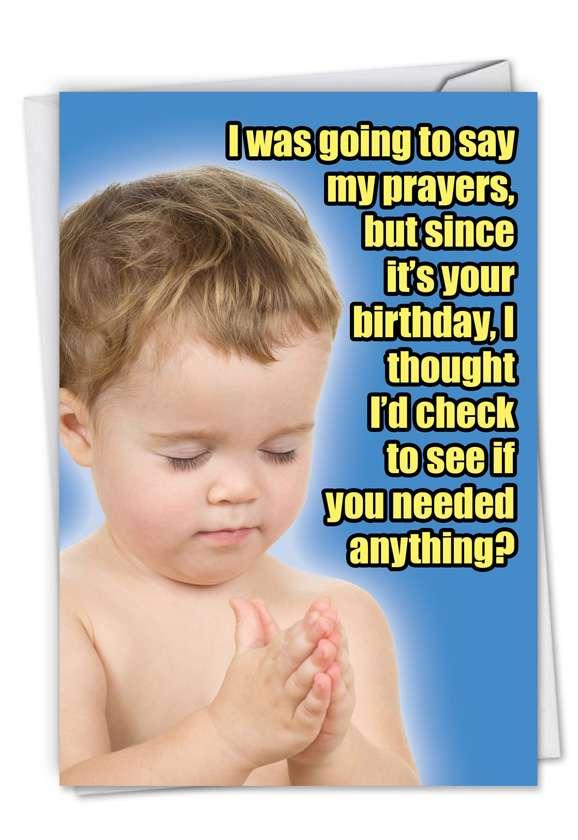 Say My Prayers: Humorous Birthday Paper Card