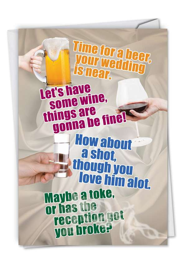 Time For A Beer: Humorous Bachelorette Paper Greeting Card