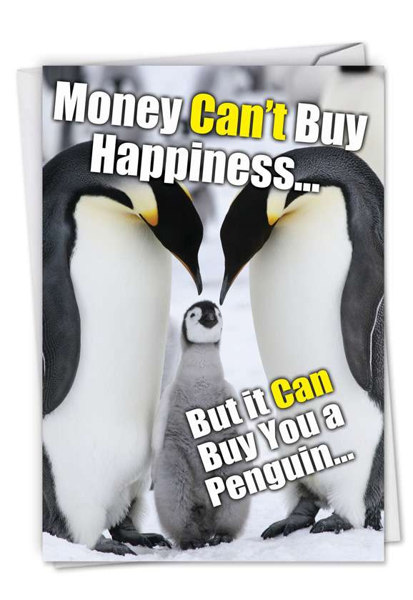 Buy A Penguin: Funny Birthday Printed Greeting Card