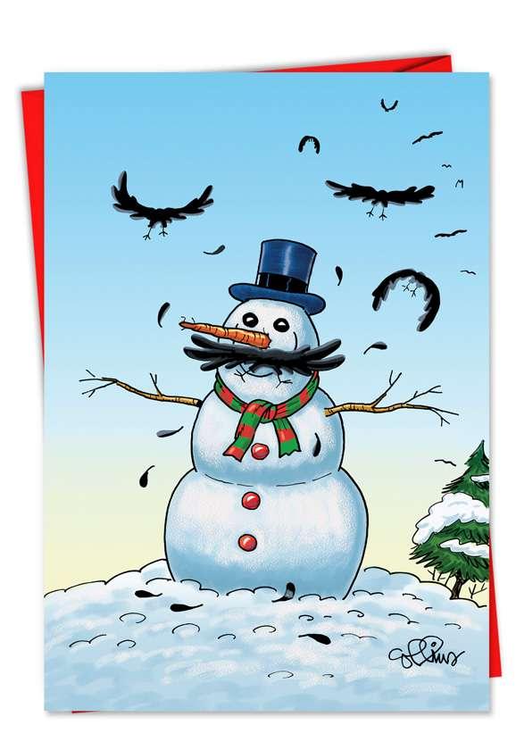 Snowman-stache: Hilarious Christmas Printed Card
