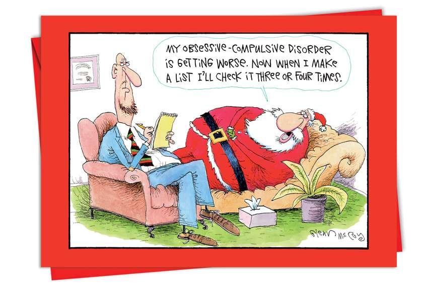 OC Santa: Humorous Christmas Paper Greeting Card