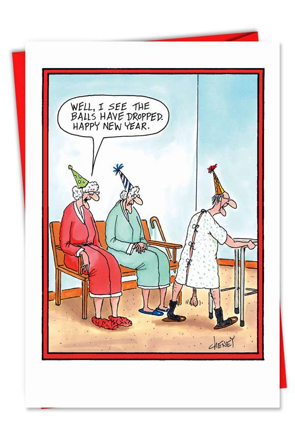 Balls Dropped: Funny New Year Printed Greeting Card