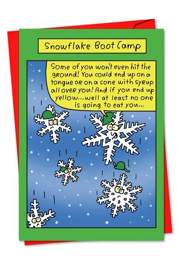 Snowflake Boot Camp: Hilarious Blank Printed Greeting Card