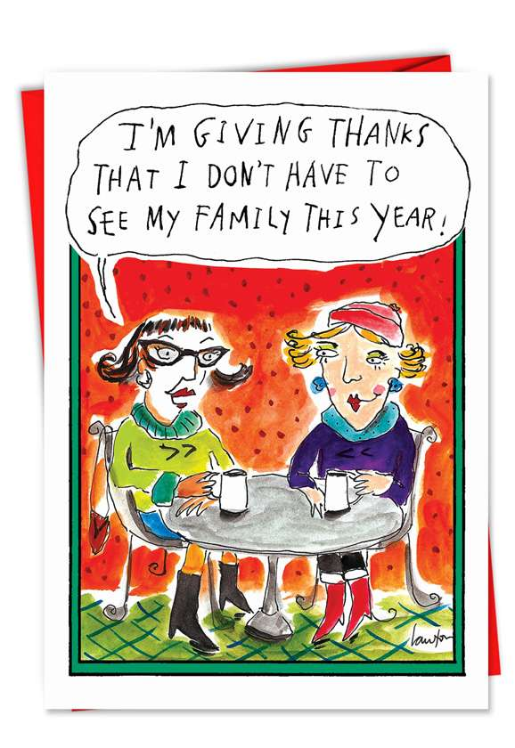 Giving Thanks: Hilarious Christmas Printed Greeting Card