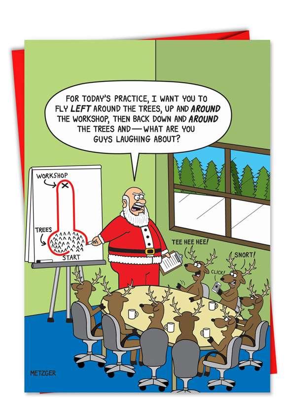 Reindeer Around the Tree: Humorous Christmas Greeting Card
