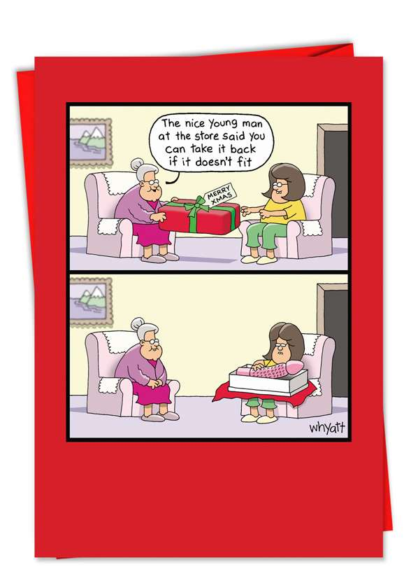 Doesn't Fit: Humorous Christmas Printed Greeting Card