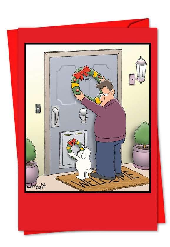 Dog Wreath: Funny Blank Paper Card