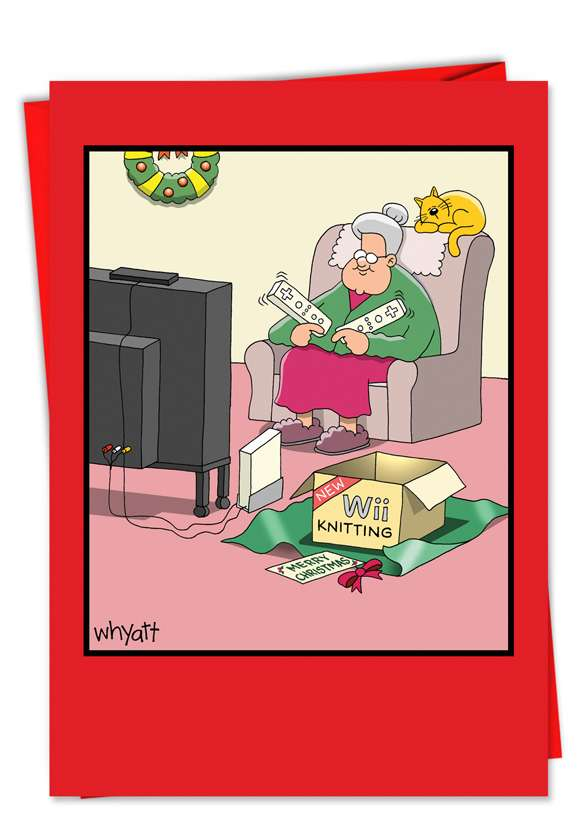 Hysterical Christmas Printed Card by Tim Whyatt from NobleWorksCards.com - Wii Christmas