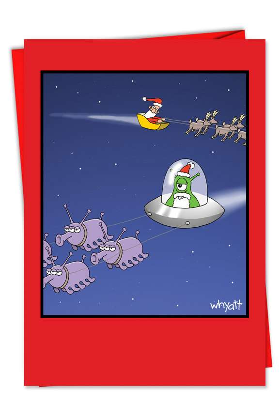 Funny Christmas Paper Greeting Card by Tim Whyatt from NobleWorksCards.com - Alien Santa