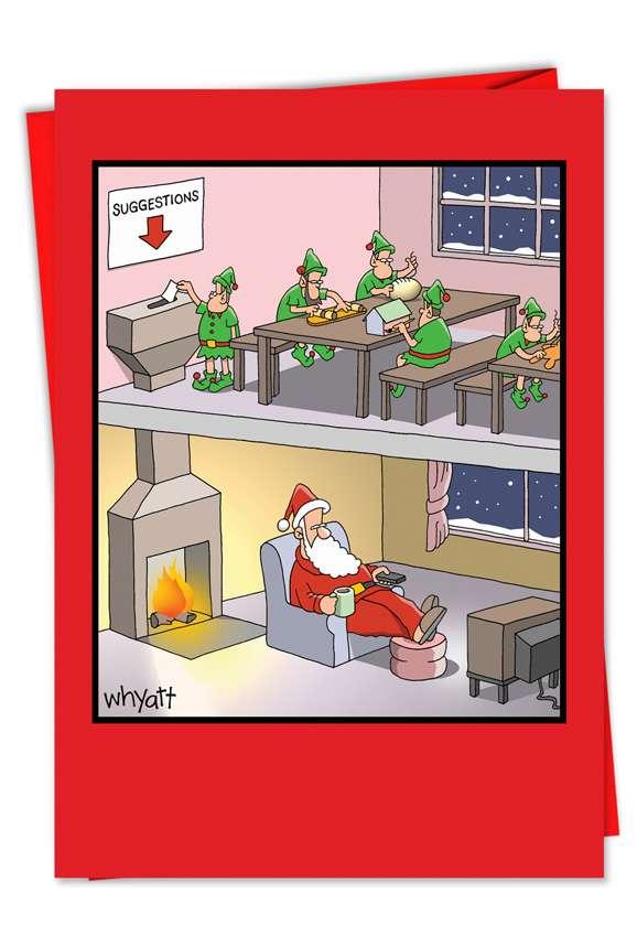 Santa Suggestion Box: Humorous Christmas Paper Card