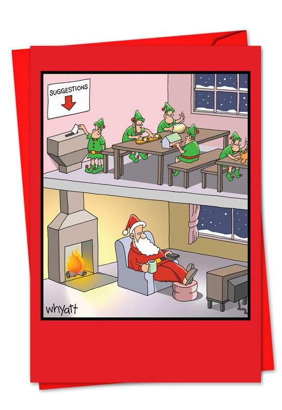 Santa Suggestion Box: Hilarious Blank Printed Greeting Card