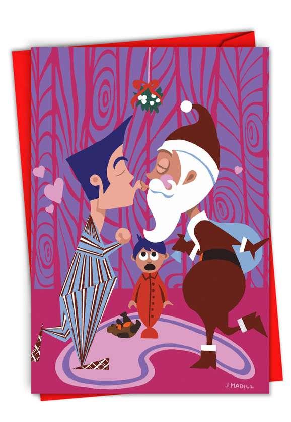 Daddy Kissing Santa Claus: Creative Christmas Greeting Card