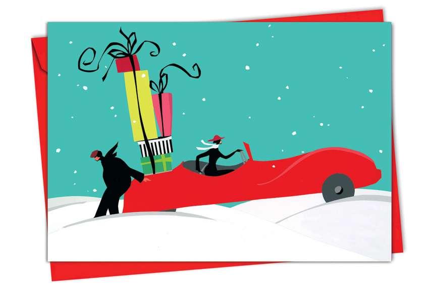 Xmas Car: Stylish Christmas Printed Card