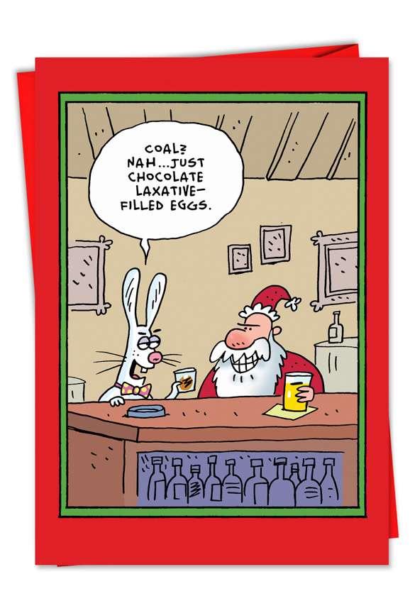 Santa Easter Bunny Laxative Eggs: Hilarious Christmas Paper Card
