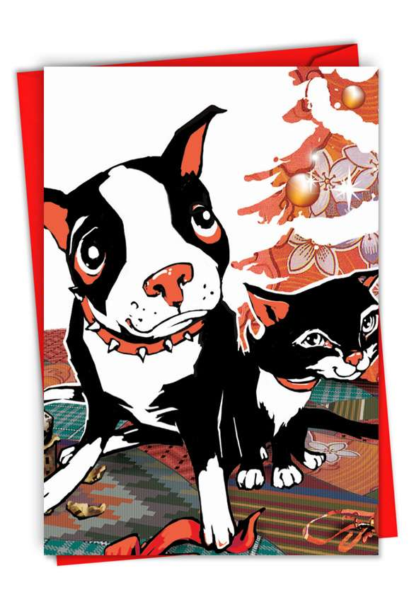 Xmas Dog and Cat: Stylish Christmas Printed Greeting Card