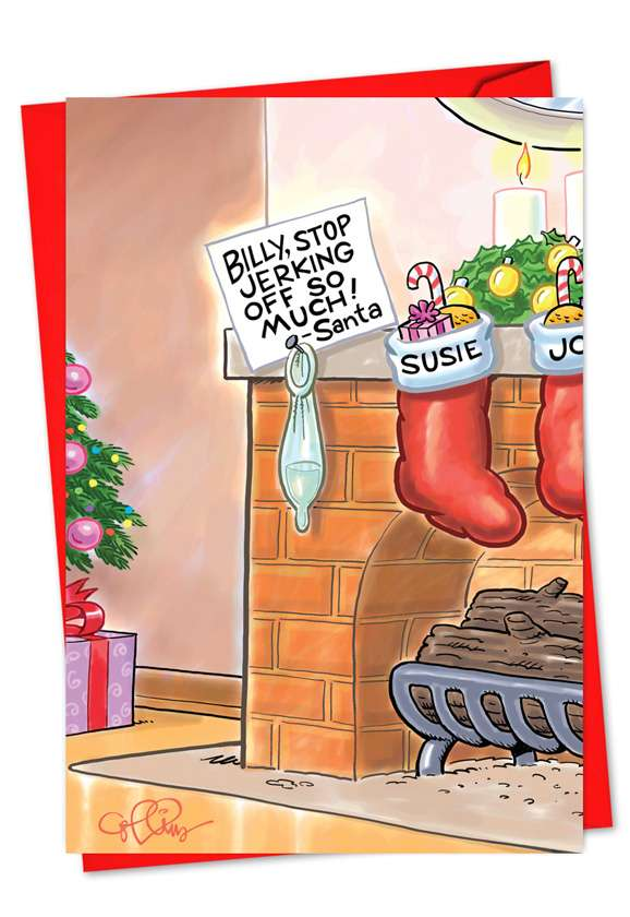 Billy Stop Jerking Off: Humorous Christmas Printed Card