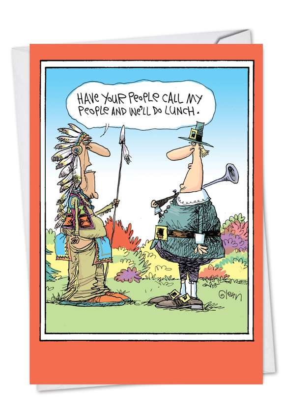Let's Do Lunch: Hilarious Thanksgiving Paper Greeting Card