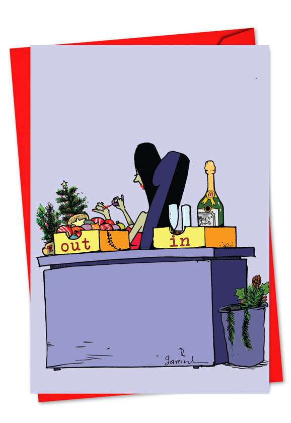 Funny Christmas Greeting Card by Gustavo Rodriguez from NobleWorksCards.com - In Wine Out Ornament