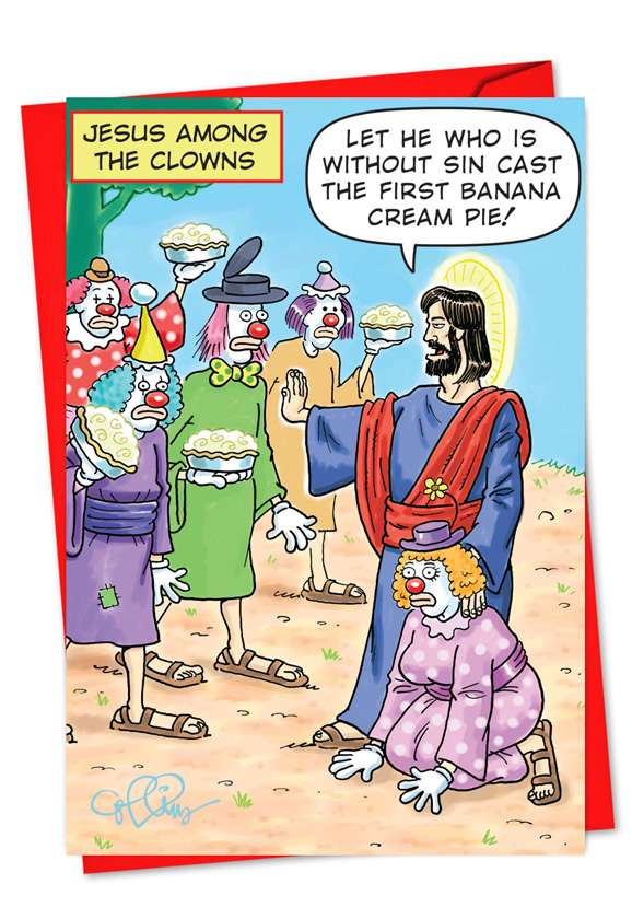 Jesus Among the Clowns: Funny Christmas Paper Card