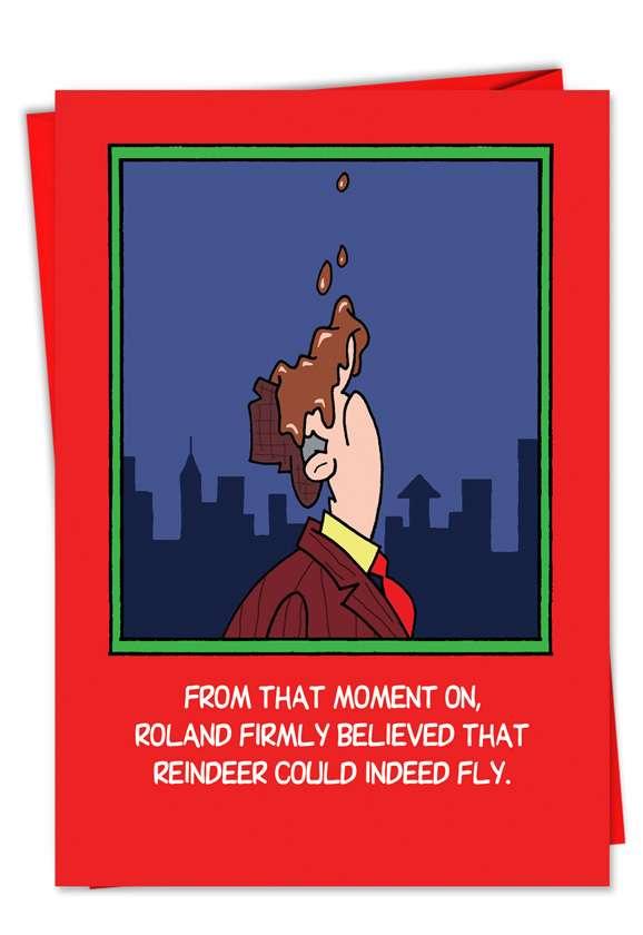 Flying Reindeer Crap: Hysterical Christmas Paper Greeting Card