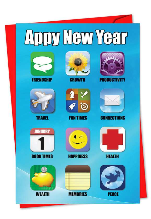 Appy New Year: Humorous New Year Paper Greeting Card