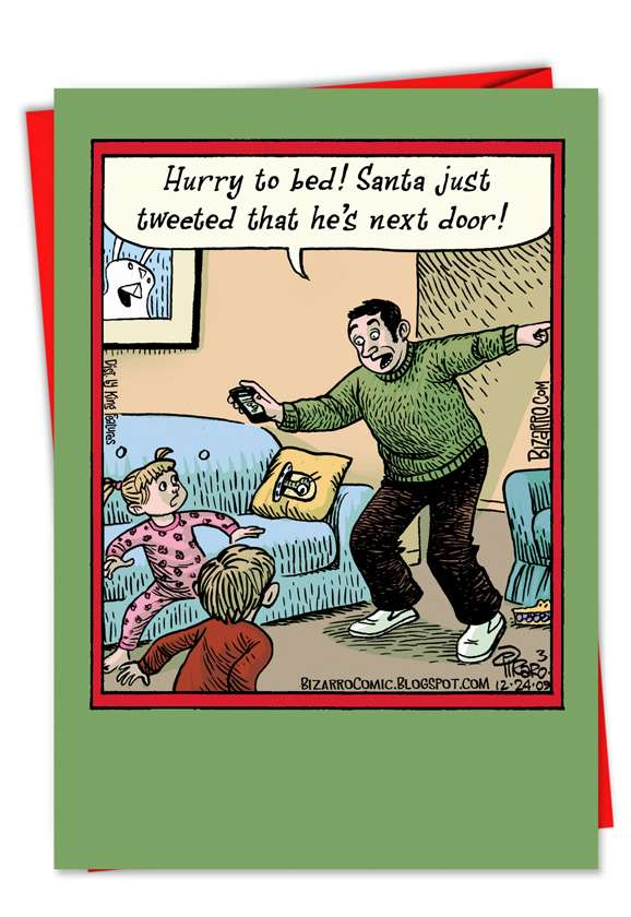 Santa Tweet: Hysterical Christmas Printed Greeting Card