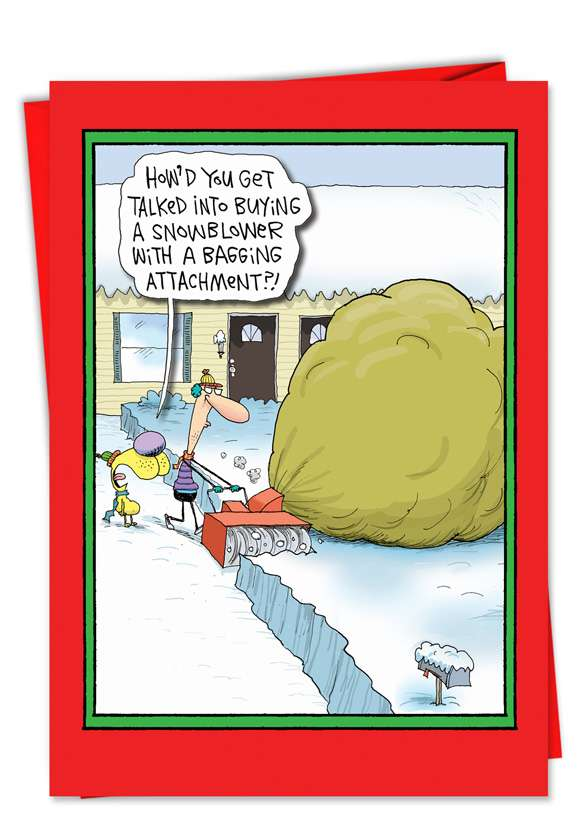 Snowblower Bagging Attachment: Funny Christmas Printed Card