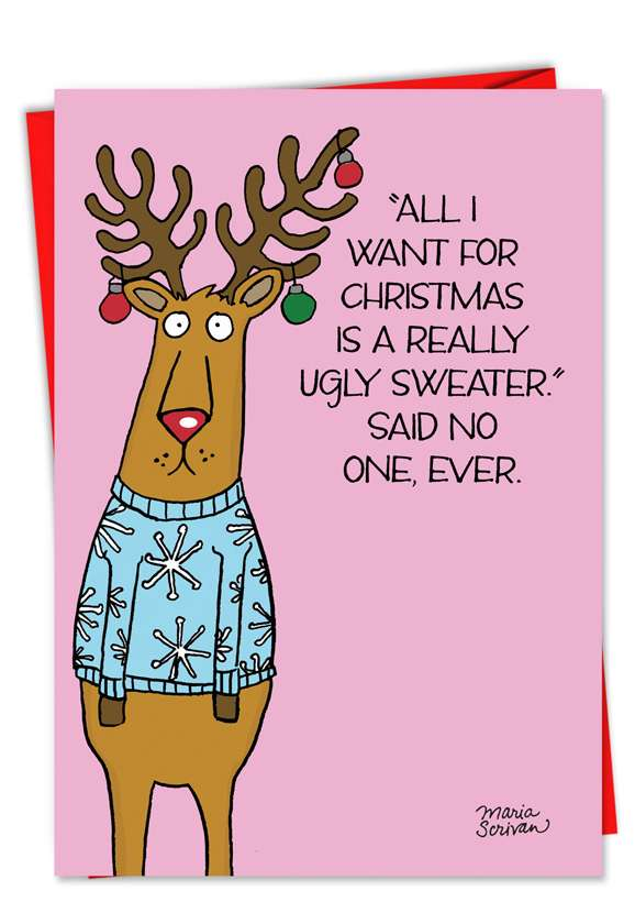 Ugly Sweater Reindeer: Humorous Christmas Printed Card