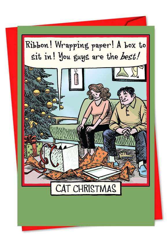 Cat Christmas: Funny Christmas Printed Greeting Card