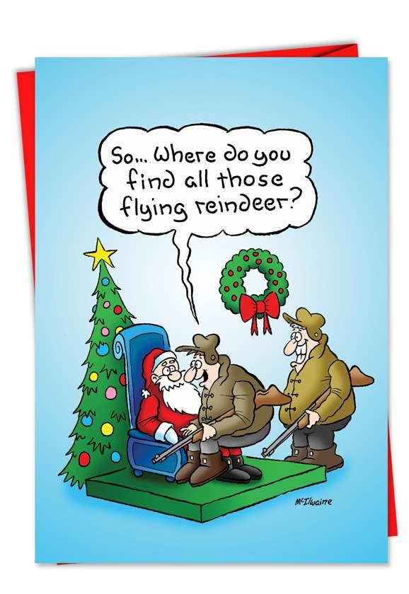 Hunter Flying Reindeer: Humorous Christmas Paper Card