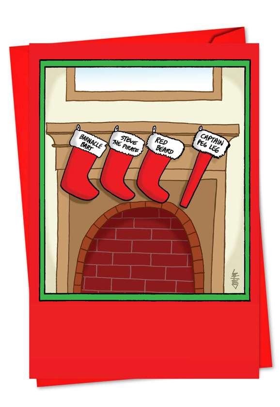 Captain Peg Leg: Humorous Christmas Paper Greeting Card