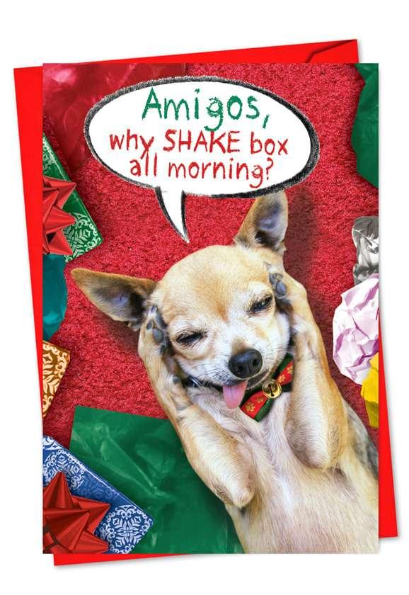 Shake The Box All Morning: Humorous Christmas Printed Card