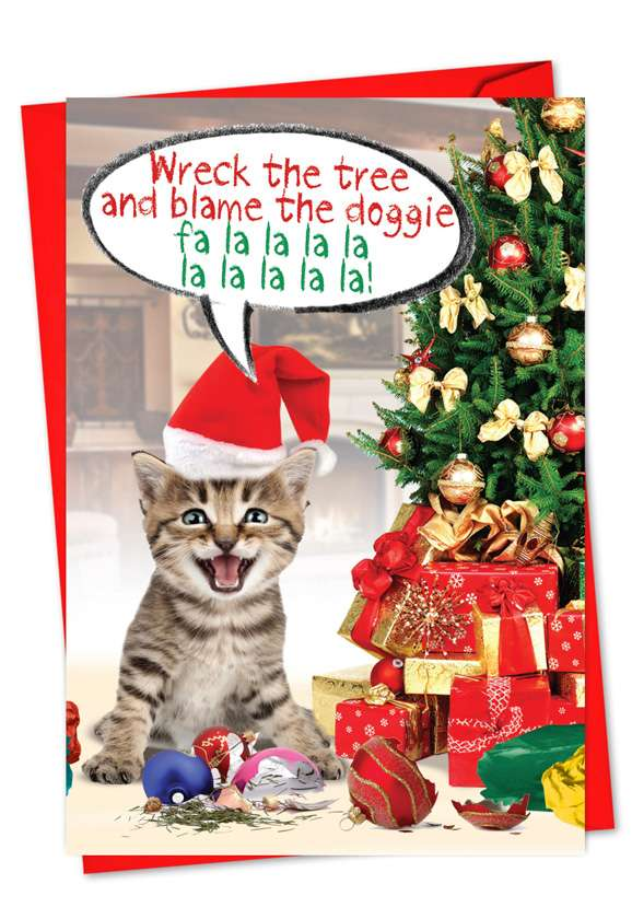 Blame The Doggie: Humorous Christmas Greeting Card