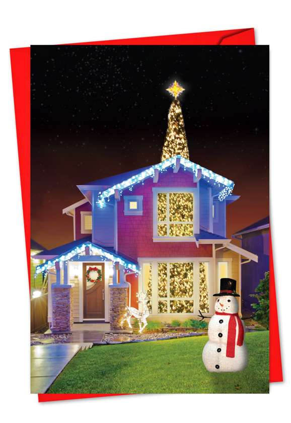 Through The Roof: Humorous Christmas Printed Greeting Card