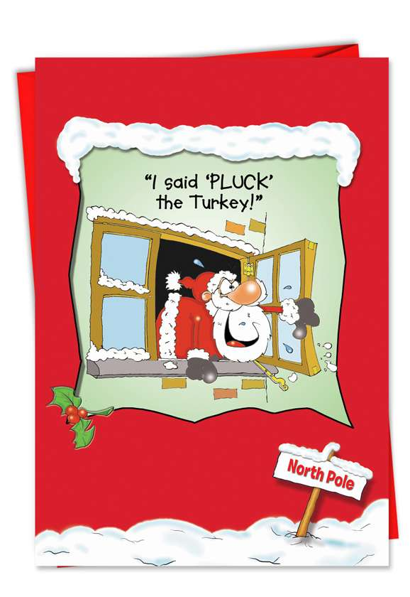 Rudolph Pluck the Turkey: Humorous Christmas Paper Card