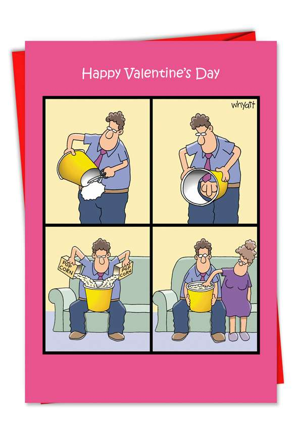Popcorn Touch: Funny Valentine's Day Printed Card