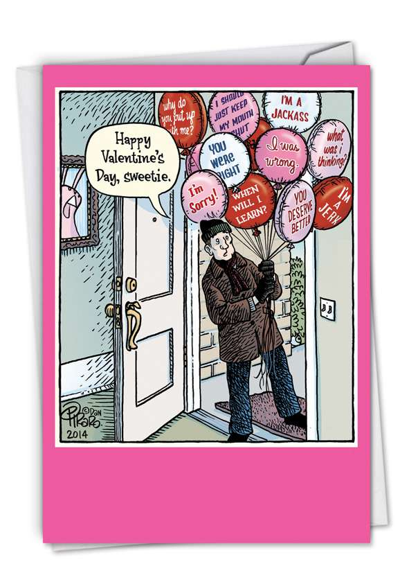 Sorry Balloons: Hysterical Valentine's Day Printed Greeting Card