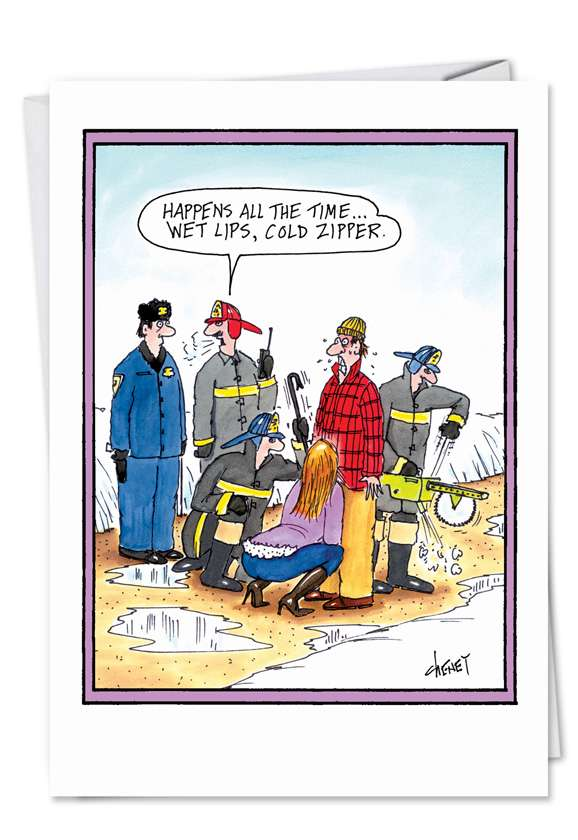 Cold Zipper: Hilarious Valentine's Day Printed Greeting Card