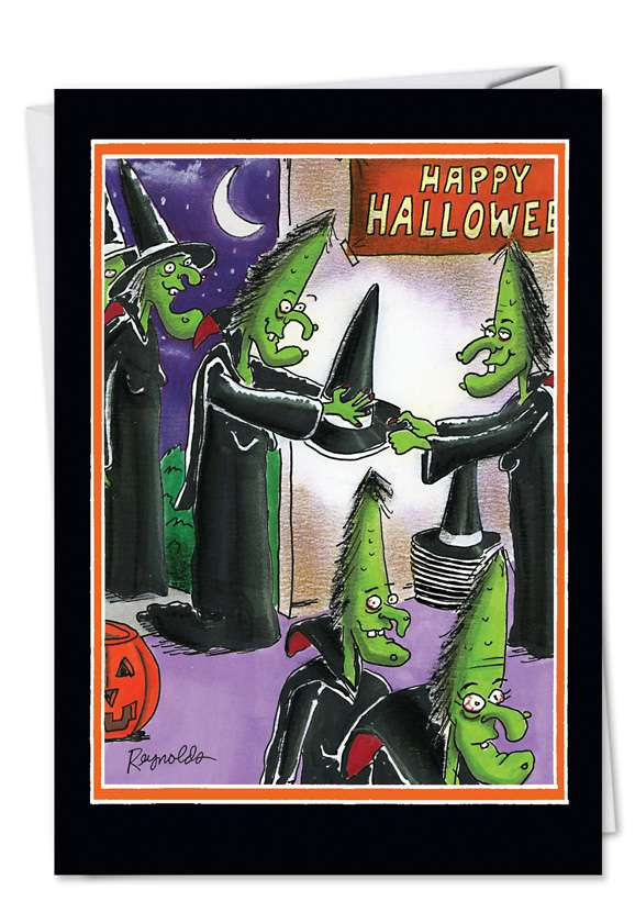 Cone Head Witches: Hilarious Halloween Printed Greeting Card