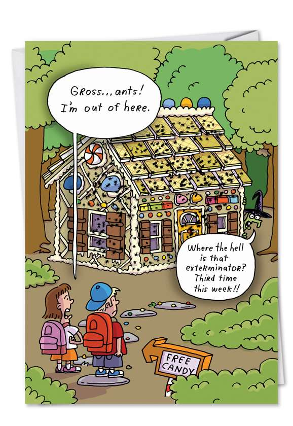 Hansel Gretel Candy House Ants: Hysterical Halloween Printed Card