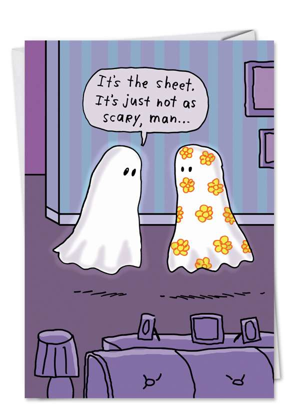 Scary Sheet Ghost: Funny Halloween Paper Greeting Card