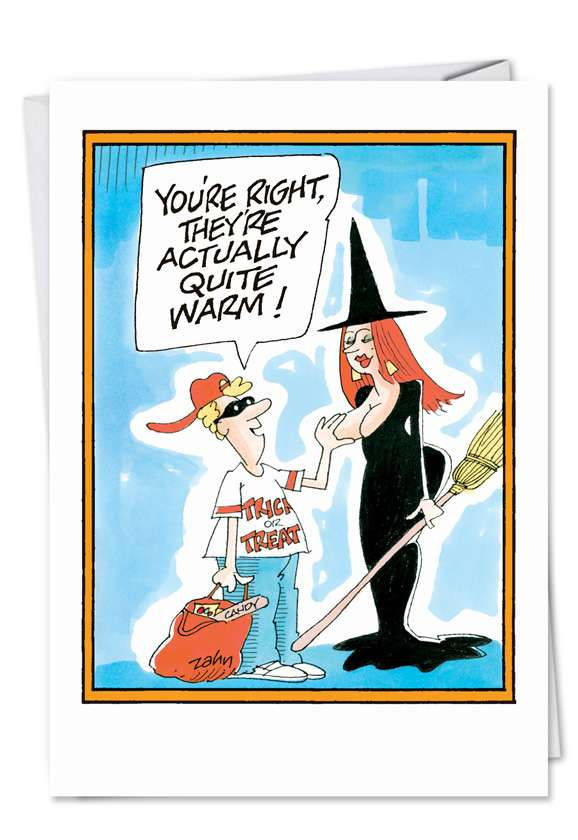 Witch Tit: Humorous Halloween Printed Greeting Card
