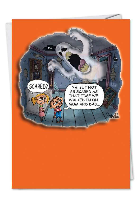 Scared Mom Dad: Hilarious Halloween Greeting Card